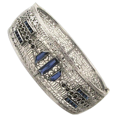 Art Deco Filigree Rhodium-Plated Bracelet w/ Faux Sapphire Rhinestones