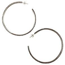 Stephen Dweck Sterling Silver Big Hoop Earrings 925 Beaded Edge