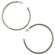 Stephen Dweck Sterling Silver Big Hoop Earrings 925 Beaded Edge