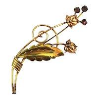 Art Deco Era Van Dell Gold-Filled Flower Pin Brooch