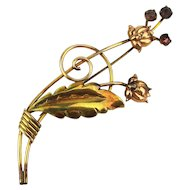 Art Deco Era Van Dell Gold-Filled Flower Pin Brooch