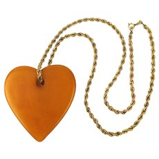 Vintage Bakelite Heart Pendant on Gold-Filled Necklace