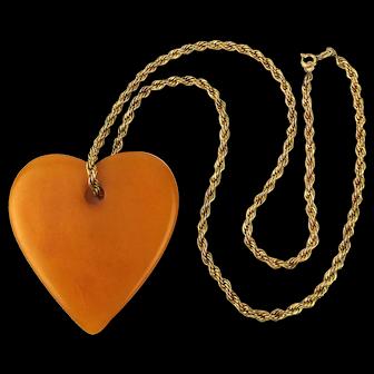 Vintage Bakelite Heart Pendant on Gold-Filled Necklace