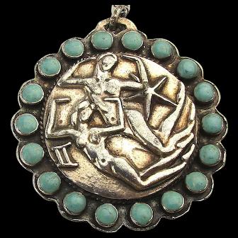 Taxco Sterling Silver Margot de Taxco GEMINI Zodiac Pendant Necklace w/ Turquoise