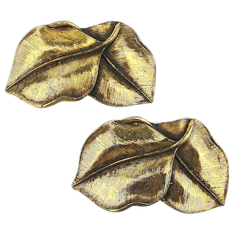 Pair of MUSI Gilt Leaves Shoe Buckle Clips