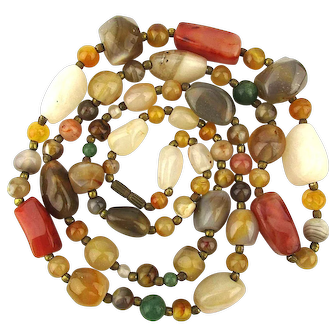 Vintage African Agate Stones Bead Necklace 34 Inches