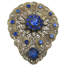 Large 1920s Filigree Pin Brooch w/ Cobalt Rhinestones