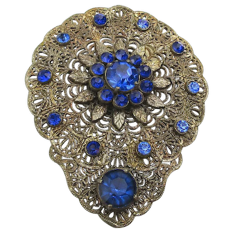 Large 1920s Filigree Pin Brooch w/ Cobalt Rhinestones