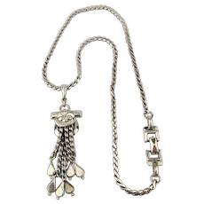 Signed BARCLAY 1950s ~ Peltanium ~ Chrome Necklace w/ Tassel