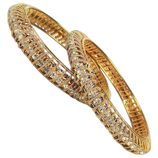 Pair of Rhinestone Bangle Bracelets Wrapped in Goldtone