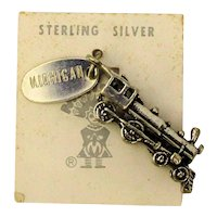 Maisel Sterling Silver Locomotive Train Charm on Orig. Card c1940s