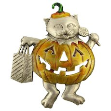 J.J. Cat in Pumpkin Halloween Outfit Pin Brooch