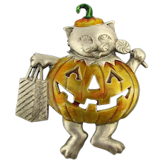 J.J. Cat in Pumpkin Halloween Outfit Pin Brooch
