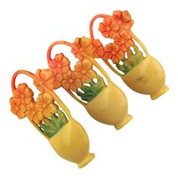 Set of 3 Celluloid Flower Basket Curtain Tacks 1930s