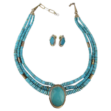 Signed Navajo Sterling Silver Turquoise Necklace w/ Earrings