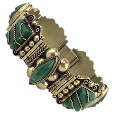 Unusual Alpaca Old Mexican Link Bracelet Carved Onyx Signed