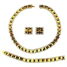 Signed Vintage Rhinestone Parure Set - Necklace Bracelet Earrings - Gorgeous