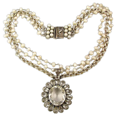Vintage Safia Day 3 Strand Necklace Sterling Quartz Crystal Pearls