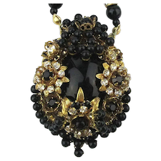 Vintage Black Glass Crystal Bead Gilt Necklace a La Haskell