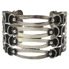 Mexican Iguala Sterling Silver Wide Cuff Bracelet Cutouts w/ Overlay