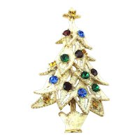 Frosty Eisenberg ICE Christmas Tree Pin Rhinestones on Snow