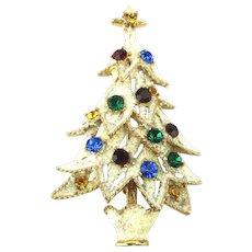 Frosty Eisenberg ICE Christmas Tree Pin Rhinestones on Snow