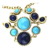 KJL Kenneth J. Lane Chain Necklace w / Blue Turquoise Beads