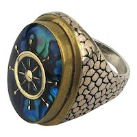 Mens Big Sterling Silver Ring Nautical Heavy Unique