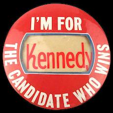 Rare Big 4-inch Cello JFK 1960 Political Pin - Write-in Candidate