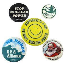 Lot 5 Vintage Anti-Nuclear War Slogan Cause Anti Nuke Pins Buttons