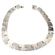 Vintage Taxco Sterling Silver Modernist Link Necklace