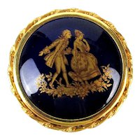 Limoges France Enamel Porcelain Pin Brooch Romantic Couple