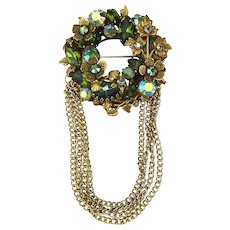 Ultra Floral AB Rhinestone Wreath Pin Brooch w/ Chain Dangles