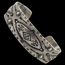 Navajo Fred Harvey Era Sterling Silver Cuff Bracelet w/ Whirling Logs