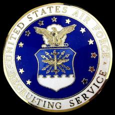 Vintage U.S. Air Force Recruiting Service Enamel Badge