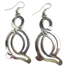 Vintage Taxco Mexican Sterling Silver Earrings Abstract Dangles