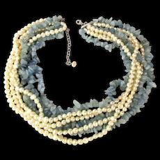 Lavish Torsade Necklace 7 Strands Milky Aquamarine w/ Pearls