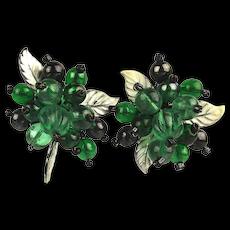 Vintage Mistletoe Glass Bead Clip Earrings Germany