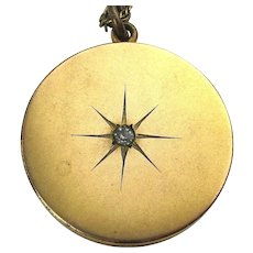 Victorian Gold Filled STAR Locket Necklace 1874 RBM Atrice