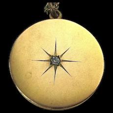 Victorian Gold Filled STAR Locket Necklace 1874 RBM Atrice