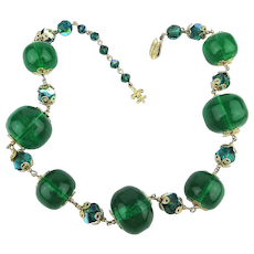 Vendome Emerald Green Lucite - AB Crystal Bead Necklace