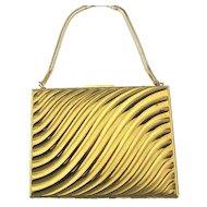 Vintage ZELL Goldtone Handbag Purse Money Make-Up Case