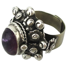 Taxco Sterling Silver Amethyst Poison Pill Box Ring