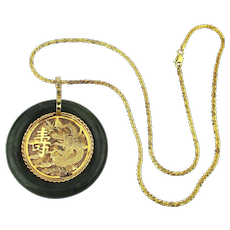 Vintage Chinese Jade Gold-Filled Pendant Necklace 925 Gilt Chain