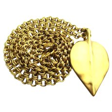 Vintage Givenchy One Heavy Gilt Leaf Pendant Necklace