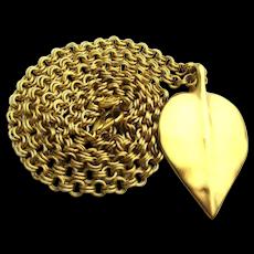 Vintage Givenchy One Heavy Gilt Leaf Pendant Necklace