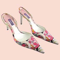 Emilio Pucci Satin Abstract Silk Print Pointed Toe Shoes Slingbacks Size 8 U.S.