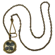Victorian Fob Chain Necklace Lucky 4 Leaf Clover Shamrock Pendant