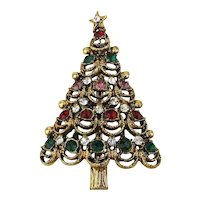 Jolly Good Christmas Tree Pin w/ Rhinestones