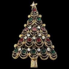 Jolly Good Christmas Tree Pin w/ Rhinestones